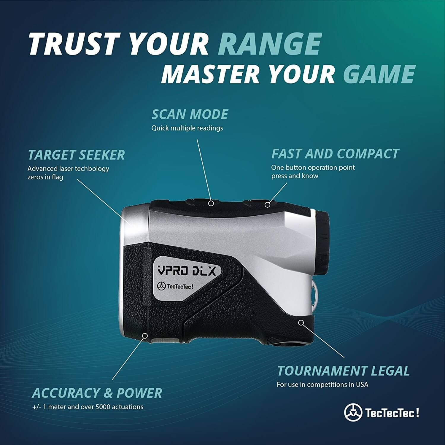 TecTecTec Trust Your Range Master Your Game VPRO DLX Rangefinder Technology
