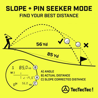 TecTecTec pin mode pin seeker slope mode angle-compensated slope corrected distance angle golf precision laser rangefinder