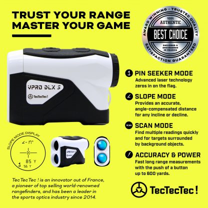 TecTecTec pin mode pin seeker scan mode angle-compensated vibration golf precision laser rangefinder DLXS