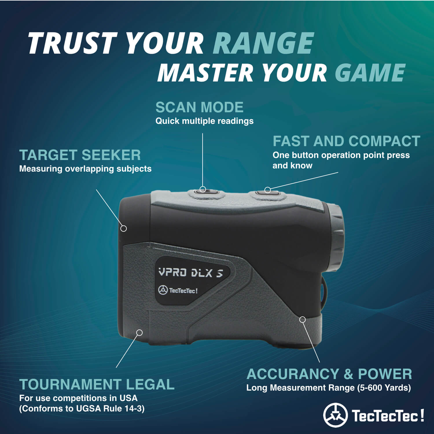 TecTecTec Trust Your Range Master Your Game VPRO DLXS Rangefinder Technology