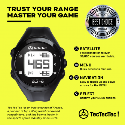 TecTecTec ULT-G precision satellite gps golf watch packaging 38000 courses worldwide