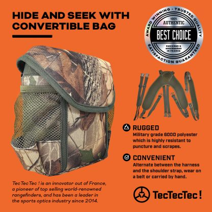 TecTecTec PROWILD BAG Camo Binoculars Rangefinder Designed for hunters with neoprene harness, neck strap, and extensions. Carry your binoculars, rangefinders and hunting gears in a military grade 600D polyester