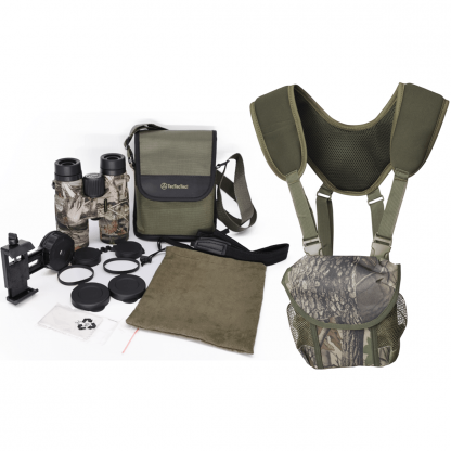 TecTecTec BPROWILD Bundle Camo high-definition optics BAK-4 FMC 42mm lenses Binoculars PROWILD BAG Designed for hunters with neoprene harness, neck strap, and extensions. Magnet closure and quick release clip-on buckles